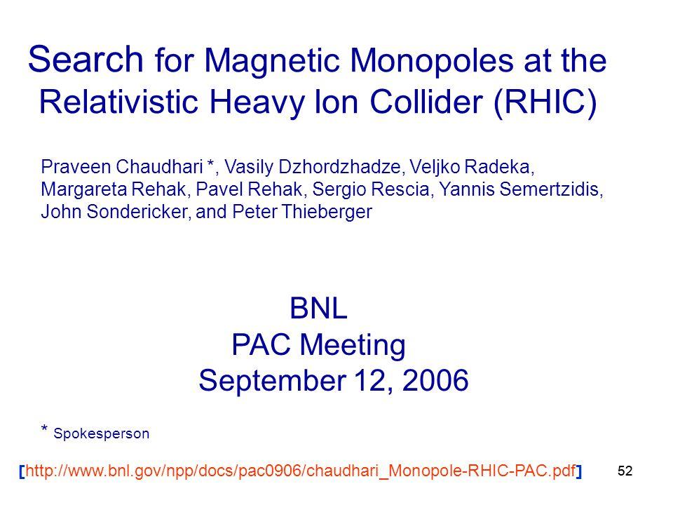 52 Search for Magnetic Monopoles at the Relativistic Heavy Ion Collider (RHIC) Praveen Chaudhari *, Vasily Dzhordzhadze, Veljko Radeka, Margareta Rehak, Pavel Rehak, Sergio Rescia, Yannis Semertzidis, John Sondericker, and Peter Thieberger BNL PAC Meeting September 12, 2006 * Spokesperson [ http://www.bnl.gov/npp/docs/pac0906/chaudhari_Monopole-RHIC-PAC.pdf ]