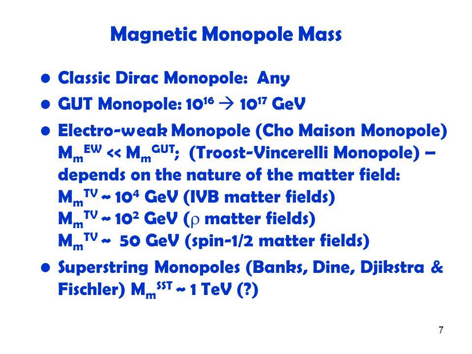 7 Magnetic Monopole Mass Classic Dirac Monopole: Any GUT Monopole: 10 16  10 17 GeV Electro-weak Monopole (Cho Maison Monopole) M m EW << M m GUT ; (Troost-Vincerelli Monopole) – depends on the nature of the matter field: M m TV ~ 10 4 GeV (IVB matter fields) M m TV ~ 10 2 GeV (  matter fields) M m TV ~ 50 GeV (spin-1/2 matter fields) Superstring Monopoles (Banks, Dine, Djikstra & Fischler) M m SST ~ 1 TeV (?)