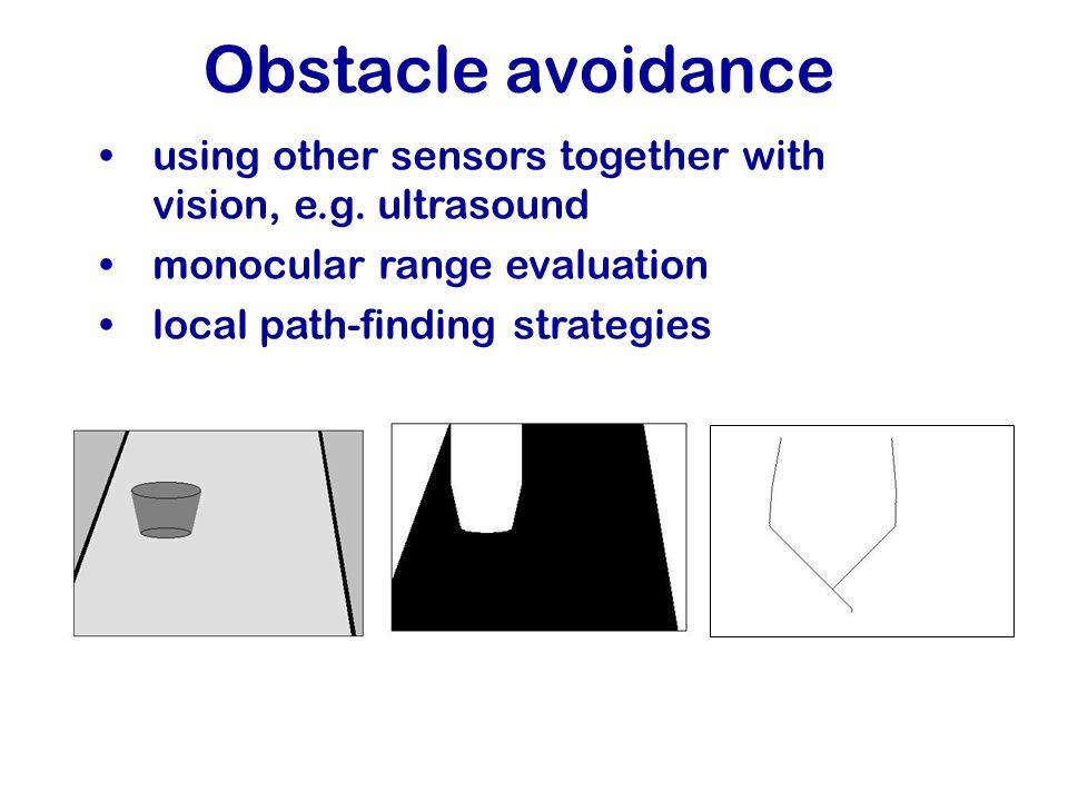 Obstacle avoidance using other sensors together with vision, e.g.