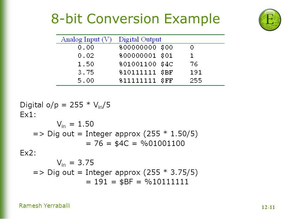 12-11 Ramesh Yerraballi 8-bit Conversion Example Digital o/p = 255 * V in /5 Ex1: V in = 1.50 => Dig out = Integer approx (255 * 1.50/5) = 76 = $4C = %01001100 Ex2: V in = 3.75 => Dig out = Integer approx (255 * 3.75/5) = 191 = $BF = %10111111