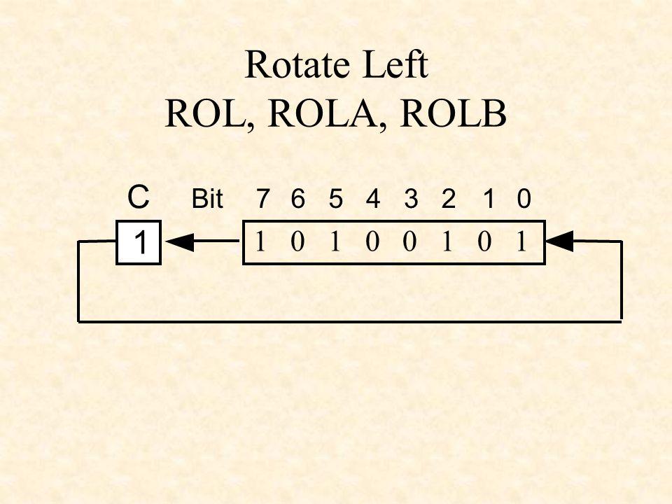 Rotate Left ROL, ROLA, ROLB 1 0 1 0 0 1 0 1 1 C 76543210Bit