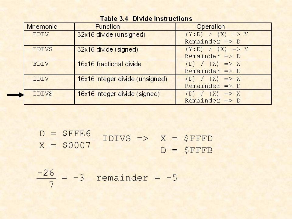 D = $FFE6 X = $0007 IDIVS => X = $FFFD D = $FFFB -26 7 = -3 remainder = -5