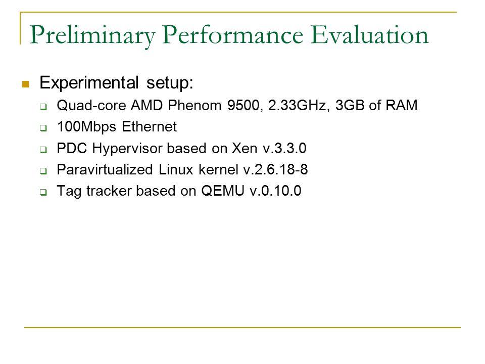 Preliminary Performance Evaluation Experimental setup:  Quad-core AMD Phenom 9500, 2.33GHz, 3GB of RAM  100Mbps Ethernet  PDC Hypervisor based on Xen v.3.3.0  Paravirtualized Linux kernel v.2.6.18-8  Tag tracker based on QEMU v.0.10.0