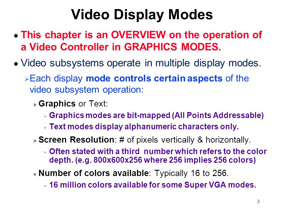 14 Graphics Mode Color Generation l Pixel attributes are not always 4 bits in size, but can range from 1 to 8 bits depending on the video mode.