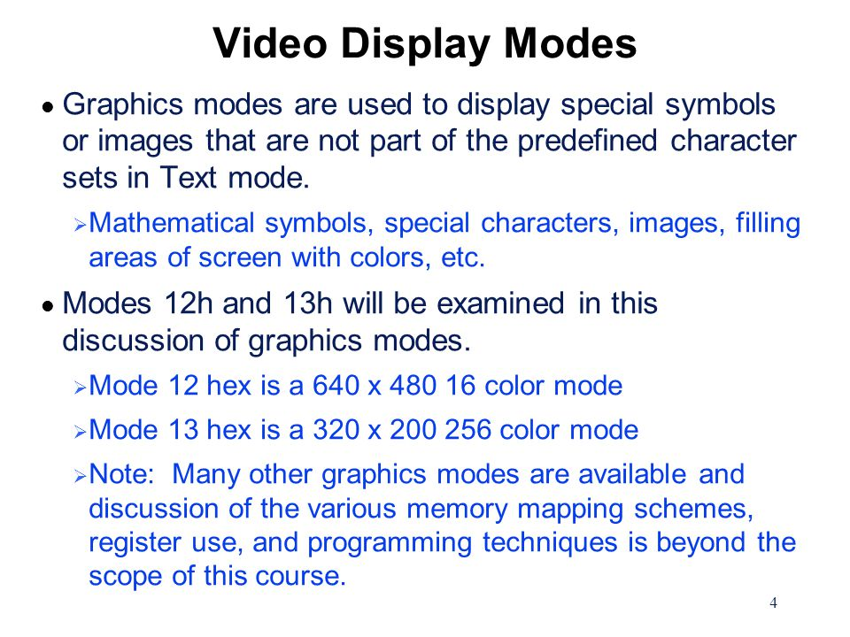 15 Graphics Mode Color Generation The following table shows the relationship between the Attribute nibble value, the Palette Register value, and the color displayed.