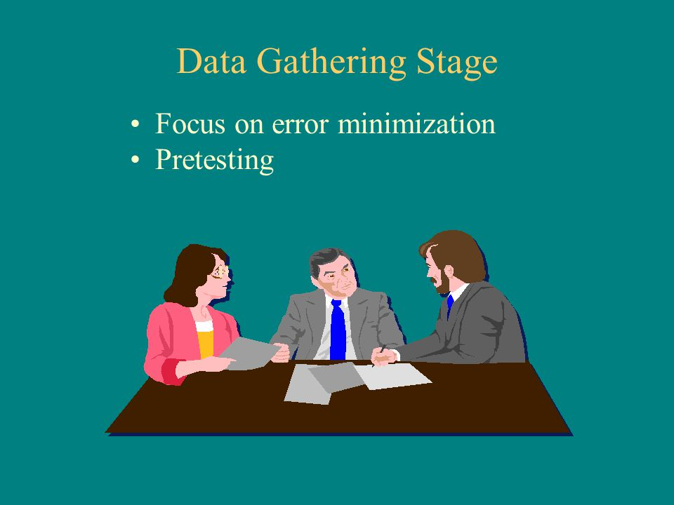 Data Gathering Stage Focus on error minimization Pretesting