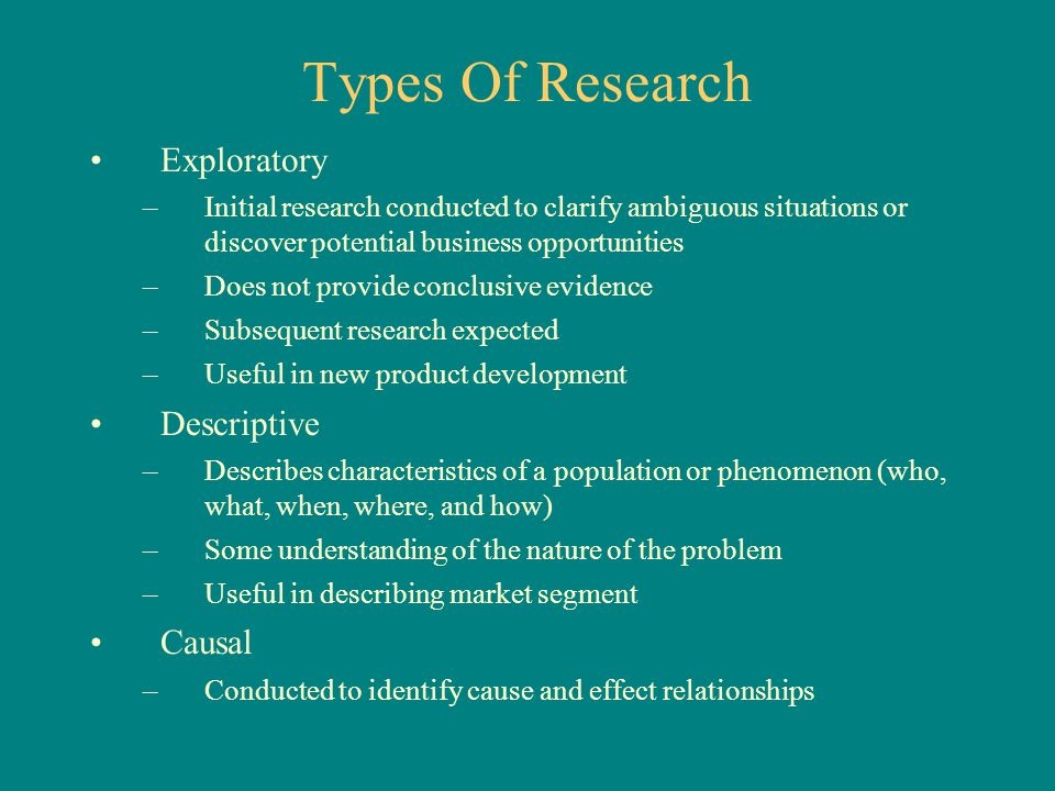 Types Of Research Exploratory –Initial research conducted to clarify ambiguous situations or discover potential business opportunities –Does not provi