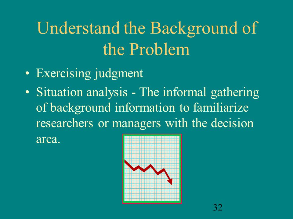 32 Understand the Background of the Problem Exercising judgment Situation analysis - The informal gathering of background information to familiarize r