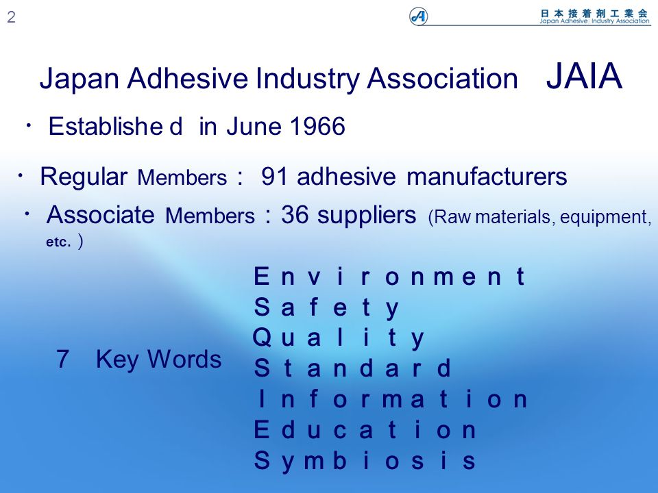 Japan Adhesive Industry Association JAIA 2 ・ Regular Members : 91 adhesive manufacturers ・ Associate Members : 36 suppliers (Raw materials, equipment, etc.