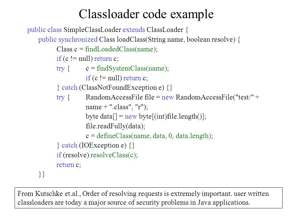 Classloader code example From Kutschke et.al., Order of resolving requests is extremely important.
