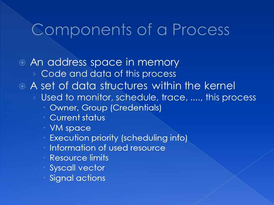  An address space in memory › Code and data of this process  A set of data structures within the kernel › Used to monitor, schedule, trace, …., this process  Owner, Group (Credentials)  Current status  VM space  Execution priority (scheduling info)  Information of used resource  Resource limits  Syscall vector  Signal actions