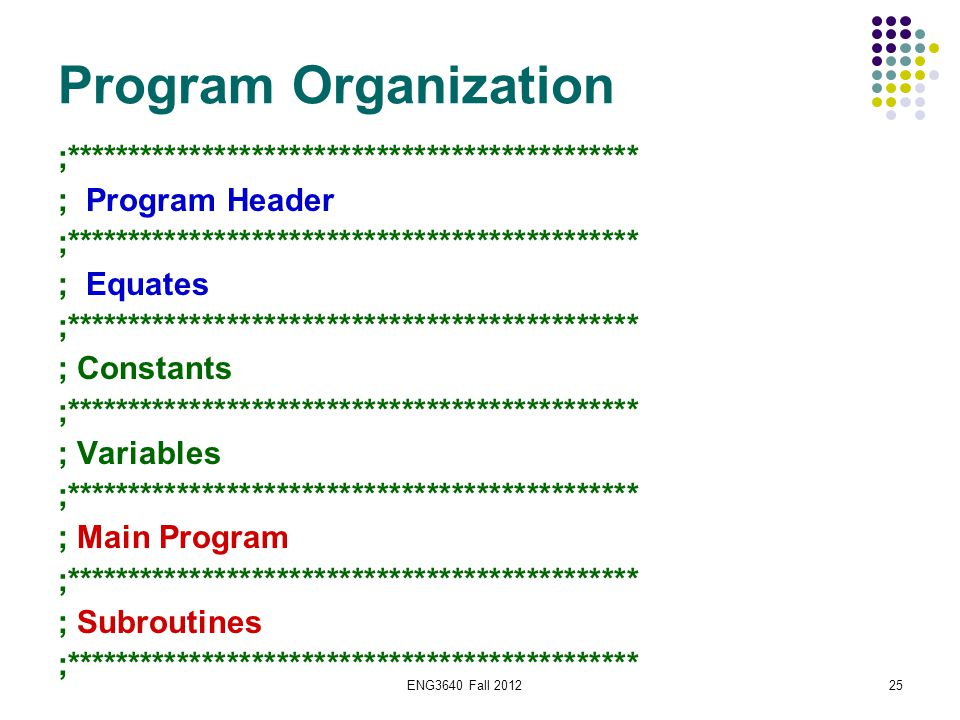 ENG3640 Fall 201225 Program Organization ;********************************************** ; Program Header ;*******************************************