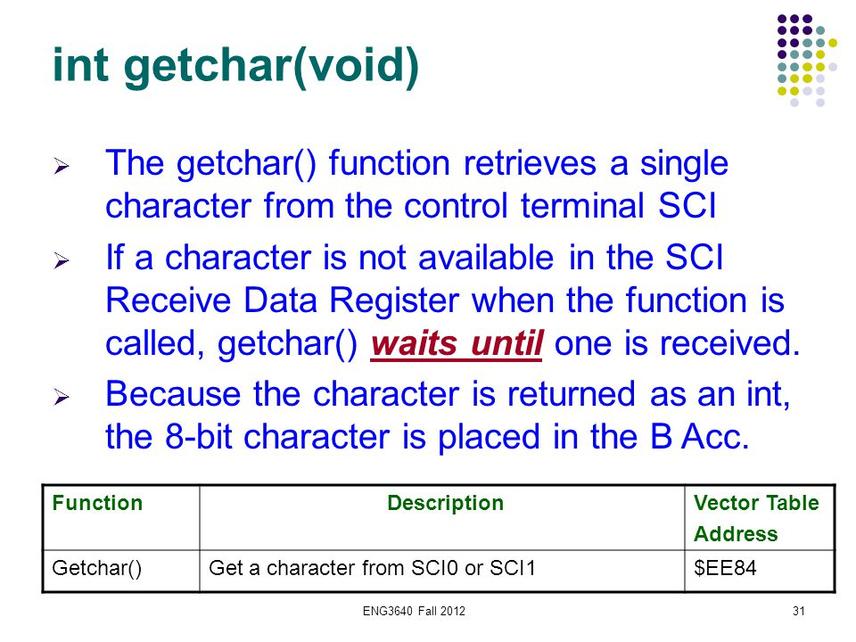 ENG3640 Fall 201231 int getchar(void) Function DescriptionVector Table Address Getchar()Get a character from SCI0 or SCI1$EE84  The getchar() functio