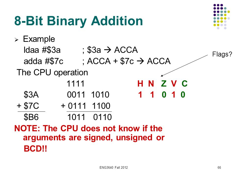 ENG3640 Fall 201266 8-Bit Binary Addition  Example ldaa #$3a ; $3a  ACCA adda #$7c ; ACCA + $7c  ACCA The CPU operation 1111 H N Z V C $3A 0011 101