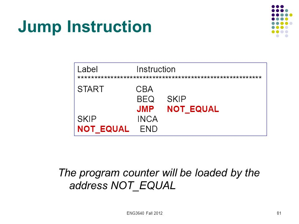 ENG3640 Fall 201281 Jump Instruction Label Instruction ********************************************************* START CBA BEQSKIP JMPNOT_EQUAL SKIP I