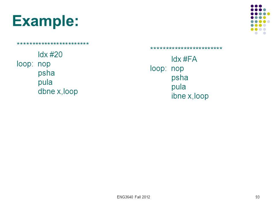 93 Example: ************************ ldx #20 loop: nop psha pula dbne x,loop ************************ ldx #FA loop: nop psha pula ibne x,loop
