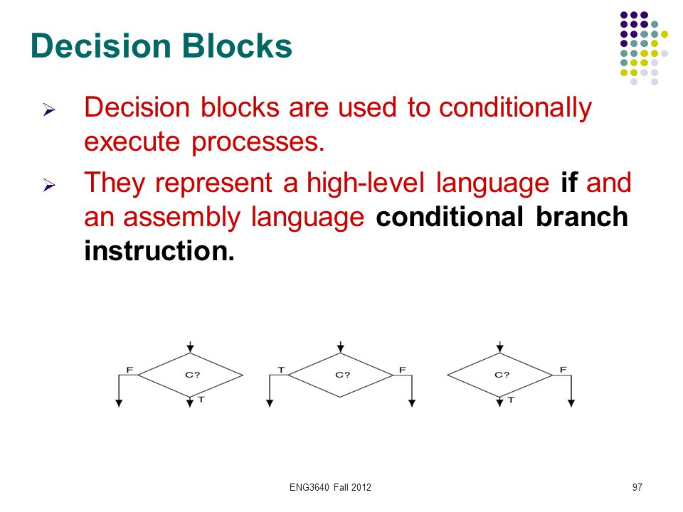 ENG3640 Fall 201297 Decision Blocks  Decision blocks are used to conditionally execute processes.  They represent a high-level language if and an as