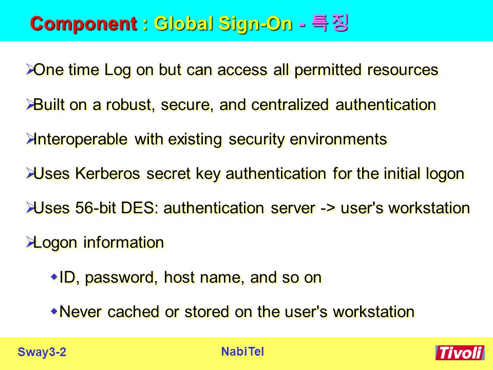 Sway3-2 NabiTel Component : Global Sign-On - 특징  One time Log on but can access all permitted resources  Built on a robust, secure, and centralized authentication  Interoperable with existing security environments  Uses Kerberos secret key authentication for the initial logon  Uses 56-bit DES: authentication server -> user s workstation  Logon information  ID, password, host name, and so on  Never cached or stored on the user s workstation  One time Log on but can access all permitted resources  Built on a robust, secure, and centralized authentication  Interoperable with existing security environments  Uses Kerberos secret key authentication for the initial logon  Uses 56-bit DES: authentication server -> user s workstation  Logon information  ID, password, host name, and so on  Never cached or stored on the user s workstation