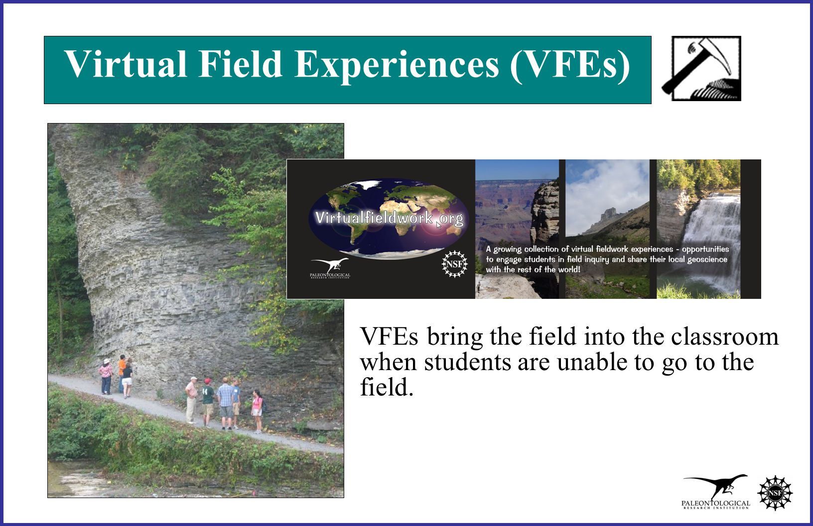 Virtual Field Experiences (VFEs) VFEs bring the field into the classroom when students are unable to go to the field.