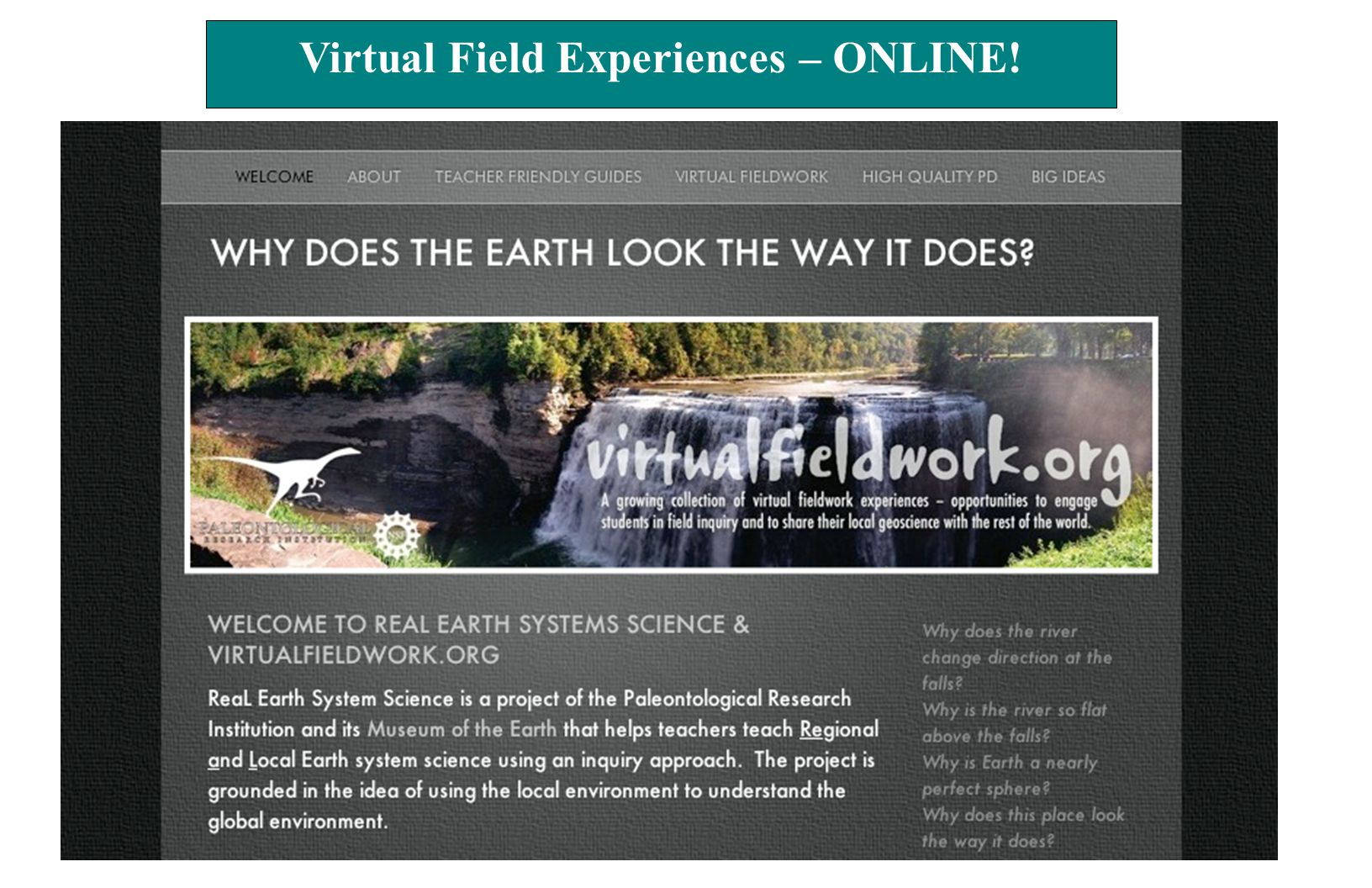 Virtual Field Experiences – ONLINE!