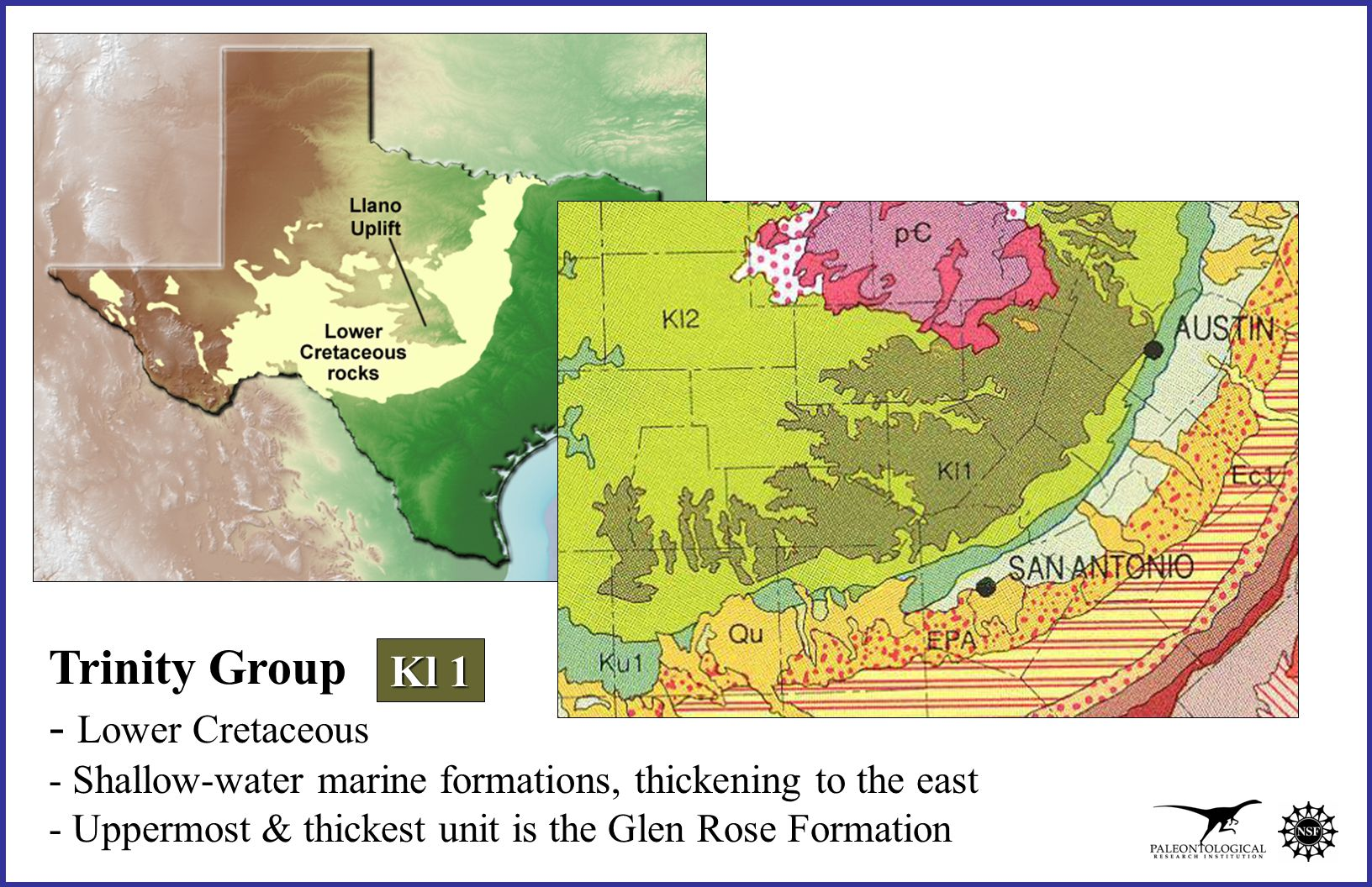 Trinity Group - Lower Cretaceous - Shallow-water marine formations, thickening to the east - Uppermost & thickest unit is the Glen Rose Formation Kl 1