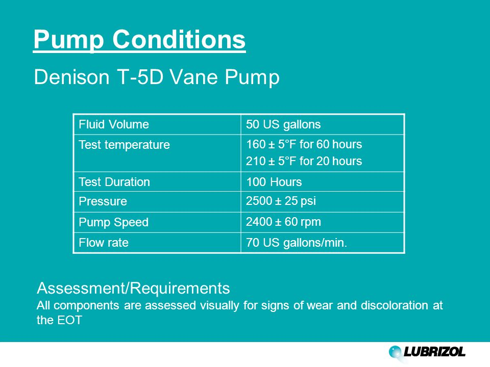 Pump Conditions Denison T-5D Vane Pump Fluid Volume50 US gallons Test temperature 160 ± 5°F for 60 hours 210 ± 5°F for 20 hours Test Duration100 Hours