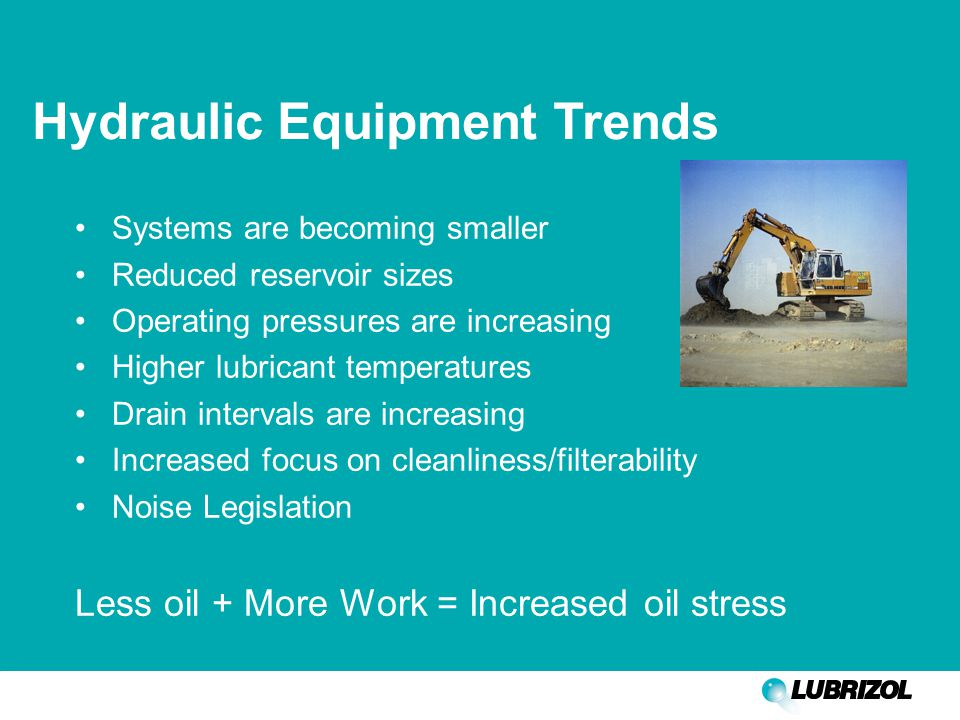 Hydraulic Equipment Trends Systems are becoming smaller Reduced reservoir sizes Operating pressures are increasing Higher lubricant temperatures Drain