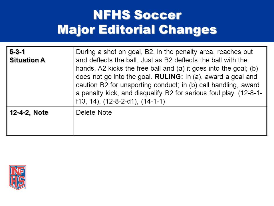NFHS Soccer Major Editorial Changes 5-3-1 Situation A During a shot on goal, B2, in the penalty area, reaches out and deflects the ball.