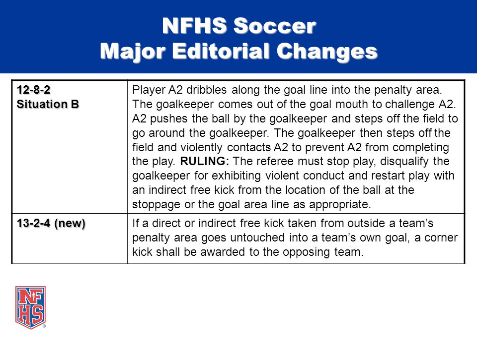 NFHS Soccer Major Editorial Changes 12-8-2 Situation B Player A2 dribbles along the goal line into the penalty area.