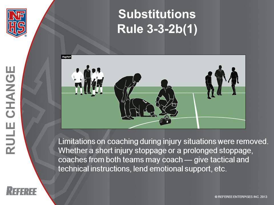© REFEREE ENTERPISES INC. 2013 RULE CHANGE Substitutions Rule 3-3-2b(1) Limitations on coaching during injury situations were removed. Whether a short