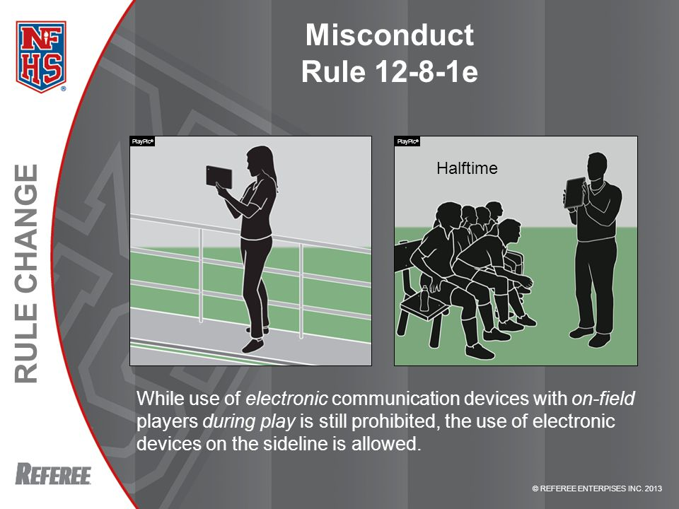 © REFEREE ENTERPISES INC. 2013 RULE CHANGE Misconduct Rule 12-8-1e While use of electronic communication devices with on-field players during play is
