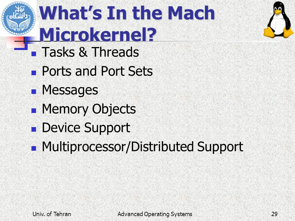 What's In the Mach Microkernel? Tasks & Threads Ports and Port Sets Messages Memory Objects Device Support Multiprocessor/Distributed Support Advanced