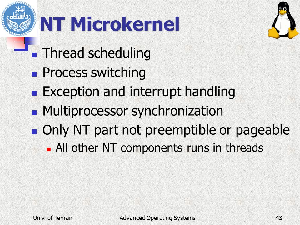 NT Microkernel Thread scheduling Process switching Exception and interrupt handling Multiprocessor synchronization Only NT part not preemptible or pag