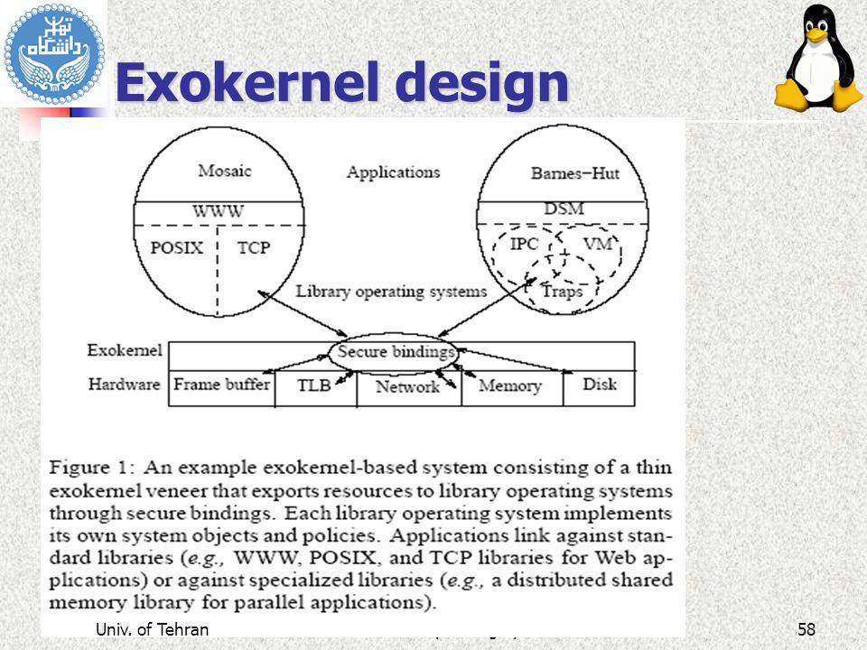 Advanced Operating Systems Exokernel design Univ. of Tehran58