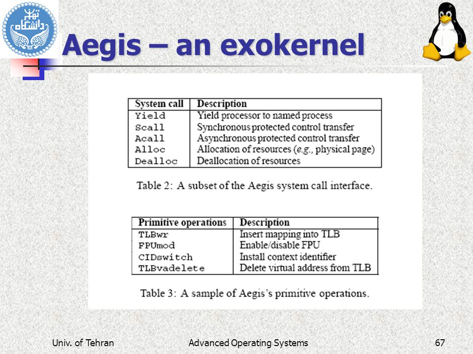 Advanced Operating Systems Aegis – an exokernel Univ. of Tehran67