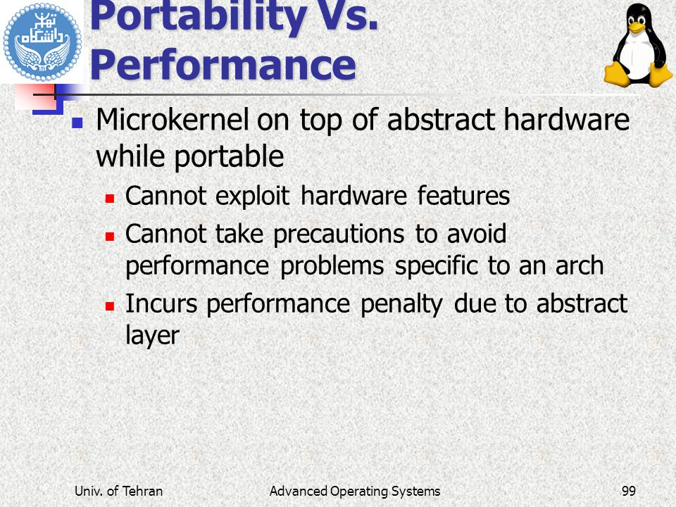 Advanced Operating Systems Portability Vs.