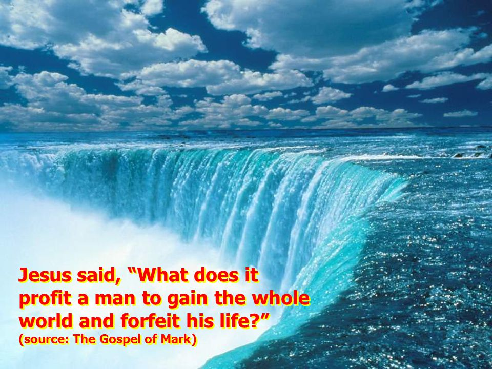 Jesus said, What does it profit a man to gain the whole world and forfeit his life (source: The Gospel of Mark) Jesus said, What does it profit a man to gain the whole world and forfeit his life (source: The Gospel of Mark)