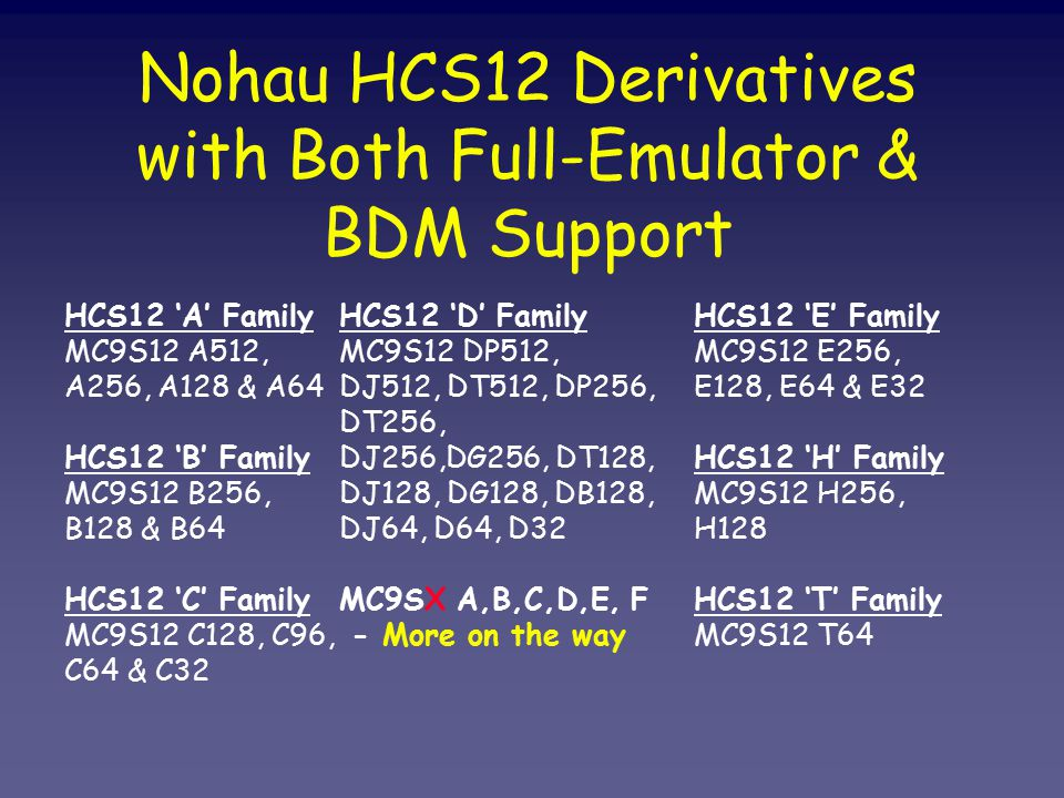 Nohau HCS12 Derivatives with Both Full-Emulator & BDM Support HCS12 'A' Family MC9S12 A512, A256, A128 & A64 HCS12 'B' Family MC9S12 B256, B128 & B64 HCS12 'C' Family MC9S12 C128, C96, C64 & C32 HCS12 'D' Family MC9S12 DP512, DJ512, DT512, DP256, DT256, DJ256,DG256, DT128, DJ128, DG128, DB128, DJ64, D64, D32 MC9SX A,B,C,D,E, F - More on the way HCS12 'E' Family MC9S12 E256, E128, E64 & E32 HCS12 'H' Family MC9S12 H256, H128 HCS12 'T' Family MC9S12 T64