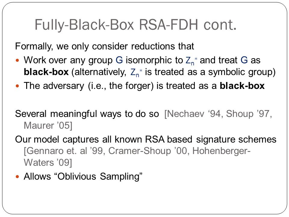 Fully-Black-Box RSA-FDH cont.