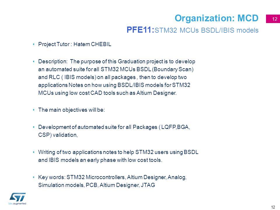 12 Organization: MCD PFE11: STM32 MCUs BSDL/IBIS models Project Tutor : Hatem CHEBIL Description: The purpose of this Graduation project is to develop