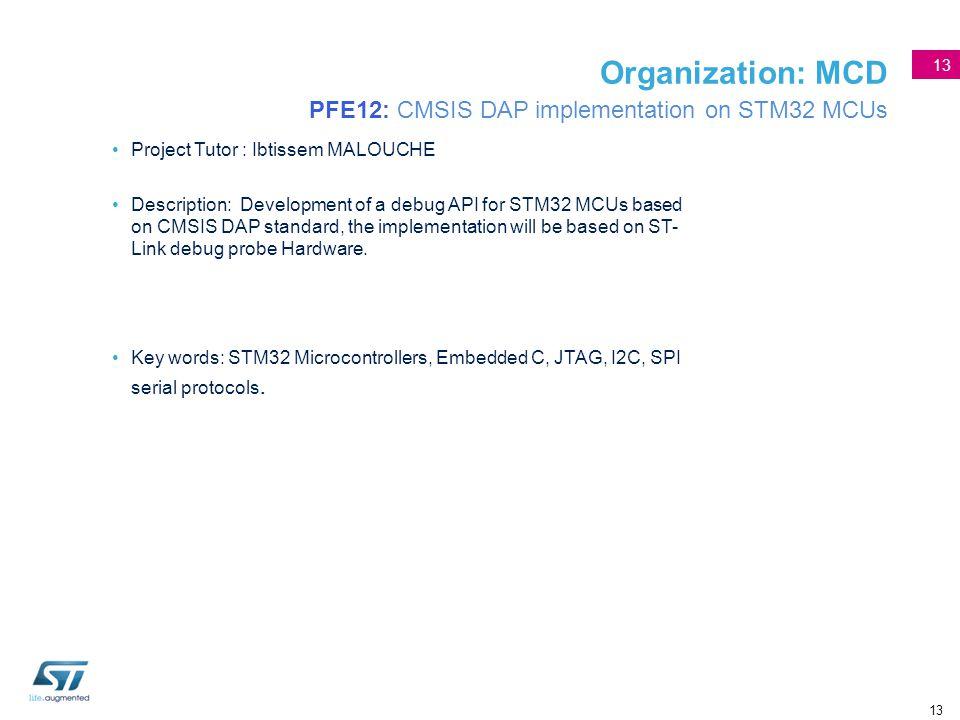 13 Organization: MCD PFE12: CMSIS DAP implementation on STM32 MCUs Project Tutor : Ibtissem MALOUCHE Description: Development of a debug API for STM32