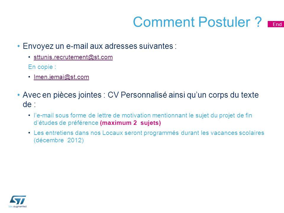 Comment Postuler ? Envoyez un e-mail aux adresses suivantes : sttunis.recrutement@st.com En copie : Imen.jemai@st.com Avec en pièces jointes : CV Pers