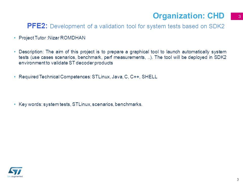 3 Organization: CHD PFE2: Development of a validation tool for system tests based on SDK2 Project Tutor :Nizar ROMDHAN Description: The aim of this pr