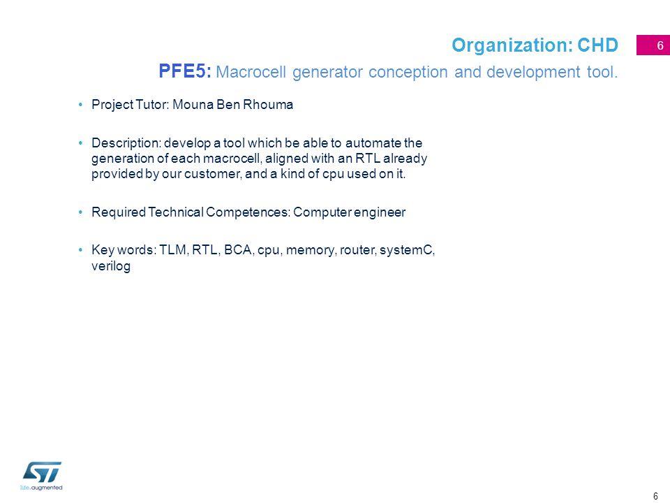 6 Organization: CHD PFE5: Macrocell generator conception and development tool. Project Tutor: Mouna Ben Rhouma Description: develop a tool which be ab