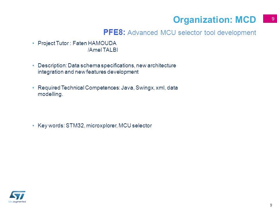 9 Organization: MCD PFE8: Advanced MCU selector tool development Project Tutor : Faten HAMOUDA /Amel TALBI Description: Data schema specifications, ne