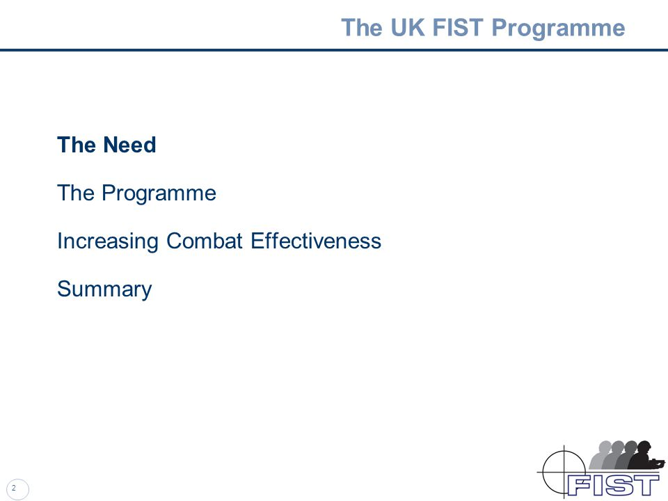 The UK FIST Programme Improving the Combat Effectiveness of the Dismounted Soldier Lt Col A M Macnaughton, PM FIST