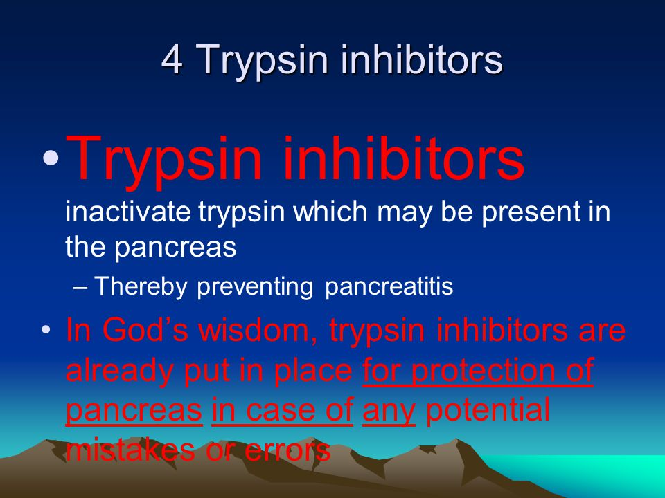 4 Trypsin inhibitors Trypsin inhibitors inactivate trypsin which may be present in the pancreas –Thereby preventing pancreatitis In God's wisdom, trypsin inhibitors are already put in place for protection of pancreas in case of any potential mistakes or errors