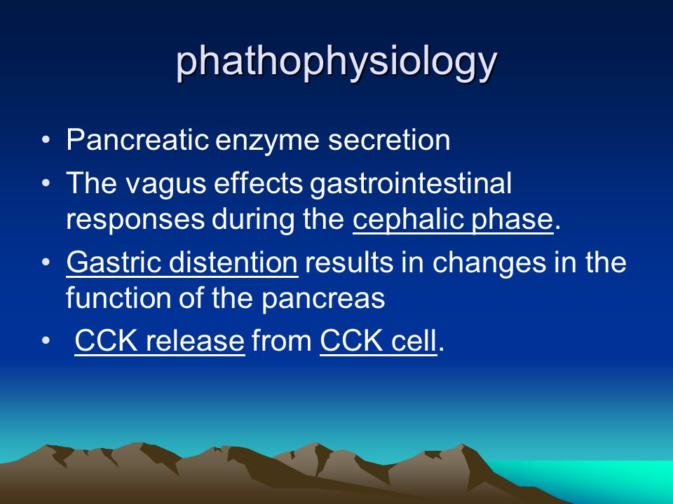 phathophysiology Pancreatic enzyme secretion The vagus effects gastrointestinal responses during the cephalic phase.