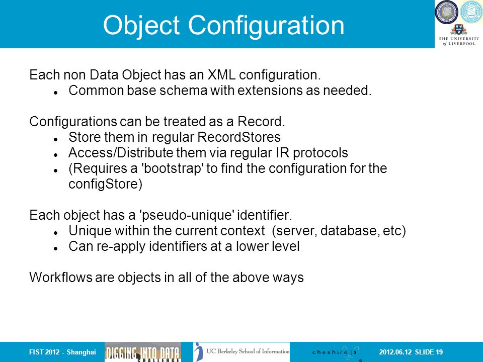 2012.06.12 SLIDE 19FIST 2012 - Shanghai Object Configuration Each non Data Object has an XML configuration. Common base schema with extensions as need