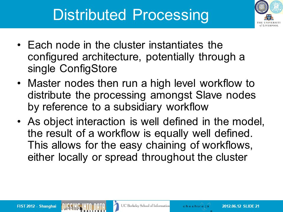 2012.06.12 SLIDE 21FIST 2012 - Shanghai Distributed Processing Each node in the cluster instantiates the configured architecture, potentially through a single ConfigStore Master nodes then run a high level workflow to distribute the processing amongst Slave nodes by reference to a subsidiary workflow As object interaction is well defined in the model, the result of a workflow is equally well defined.